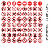 set of prohibition signs on... | Shutterstock .eps vector #1118424248