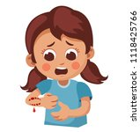 little girl with hand was...   Shutterstock .eps vector #1118425766