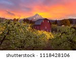 Sunset Over Mount Hood And Red...