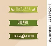 natural and organic label green ... | Shutterstock .eps vector #1118442044