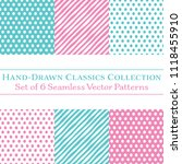 set of 6 classic hand drawn... | Shutterstock .eps vector #1118455910