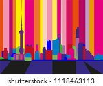 colorful abstract skyline of... | Shutterstock .eps vector #1118463113