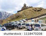 gergeti   may 4  tourists enjoy ... | Shutterstock . vector #1118470208