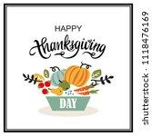 happy thanksgiving hand drawn... | Shutterstock .eps vector #1118476169