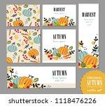 set of autumn templates.... | Shutterstock .eps vector #1118476226