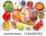 balanced diet food background.  | Shutterstock . vector #1118483783