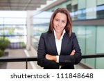 smiling young business woman at ... | Shutterstock . vector #111848648