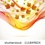 Abstract autumn background with wave, illustration for your design - stock photo