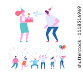 birthday boy blows out candles... | Shutterstock .eps vector #1118516969