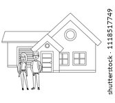 couple lovers outside the house | Shutterstock .eps vector #1118517749