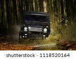suv or offroad car on path... | Shutterstock . vector #1118520164