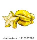 starfruit carambola. tasty star ...   Shutterstock .eps vector #1118527580