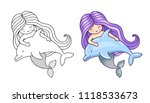 mermaid  floating with dolphin. ... | Shutterstock .eps vector #1118533673
