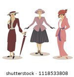 three models in dresses of 20th ...   Shutterstock .eps vector #1118533808