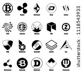 cryptocurrency types icons set. ... | Shutterstock . vector #1118543933