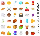 variety of food icons set.... | Shutterstock . vector #1118556746