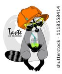 vector raccoon with a glass ... | Shutterstock .eps vector #1118558414