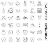 love affair icons set. outline...   Shutterstock . vector #1118560193