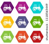 tractor icon set many color... | Shutterstock . vector #1118565449