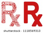 rx symbol mosaic of service... | Shutterstock .eps vector #1118569313