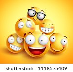 smileys face vector design with ... | Shutterstock .eps vector #1118575409