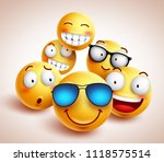 smiley face emoticons vector... | Shutterstock .eps vector #1118575514