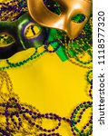 two mardi gras mask with...   Shutterstock . vector #1118577320