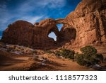 the double arch in moab utah at ... | Shutterstock . vector #1118577323
