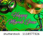 two mardi gras mask with...   Shutterstock . vector #1118577326