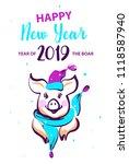 chinese earth boar of horoscope ...   Shutterstock .eps vector #1118587940