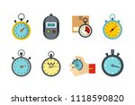 stopwatch icon set. flat set of ...