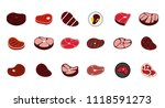 beef icon set. flat set of beef ... | Shutterstock . vector #1118591273