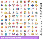 100 happiness icons set.... | Shutterstock . vector #1118591573