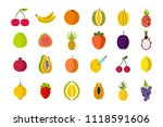 fruits icon set. flat set of... | Shutterstock . vector #1118591606