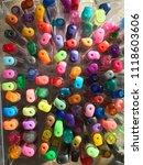 multi colored gel pens | Shutterstock . vector #1118603606