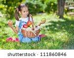 little girl with fruit. | Shutterstock . vector #111860846