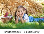 little girl with fruit. | Shutterstock . vector #111860849