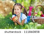 little girl with fruit. | Shutterstock . vector #111860858