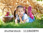 little girl with fruit. | Shutterstock . vector #111860894
