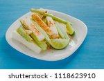 pepinos and jicama con chile ...   Shutterstock . vector #1118623910