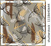 silk scarf with flowers... | Shutterstock .eps vector #1118640644