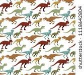 scary dinosaurs vector... | Shutterstock .eps vector #1118642804
