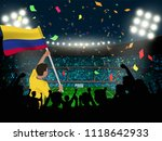 supporter hold colombia flag... | Shutterstock .eps vector #1118642933