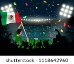 supporter hold mexico flag... | Shutterstock .eps vector #1118642960
