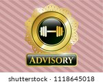 gold emblem with dumbbell icon ... | Shutterstock .eps vector #1118645018
