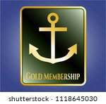 gold emblem with anchor icon... | Shutterstock .eps vector #1118645030