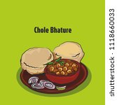 indian street food chole bhature | Shutterstock .eps vector #1118660033