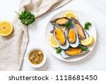 seafood mussels with lemon and... | Shutterstock . vector #1118681450