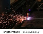 cutting of metal. sparks fly...   Shutterstock . vector #1118681819