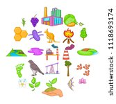 pollution of nature icons set.... | Shutterstock .eps vector #1118693174